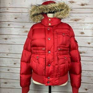 True Religion Red Down Hooded Winter Puffer Jacket